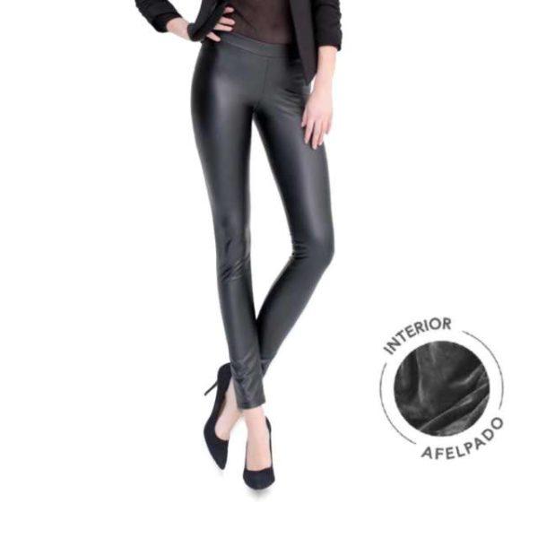 legging pitillo con felpa interior, imitacion cuero. Color negro