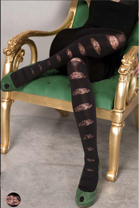 panty negra gruesa tupida con detalles en imitacion a abertura encaje