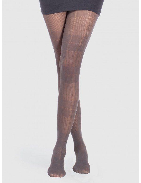 Panty cuadro gales color gris semi opaco