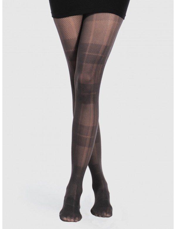 Panty cuadro gales color negro semi opaco