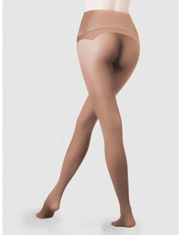 panty anticarreras sin costuras con cinturilla de silicona. Color piel