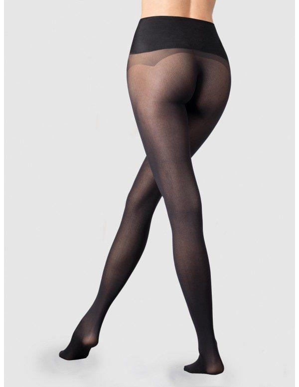 panty anticarreras sin costuras con cinturilla de silicona. Color negro