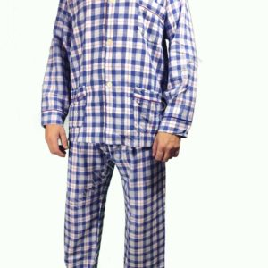 pijama hombre franela cuadros manga larga. Tonos azules. Aberierto de botones