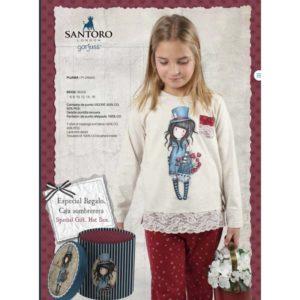 pijama gorjuss + caja sombrerero de regalo. Pijama con pantalon en rojo con estampado de corazones. Camiseta beige con bolsillo y tira ancha de encaje en el bajo