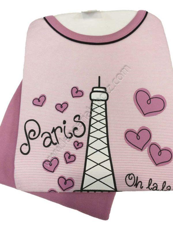 pijama niña con interior afelpado rosa con pantalon liso y camiseta de rayas con dibujo de la torre Eiffel y corazones