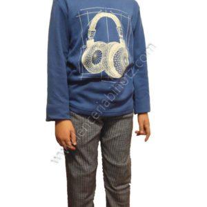 pijama niño con felpa interior con pantalon de cuadros y camiseta azul estampado auriculares