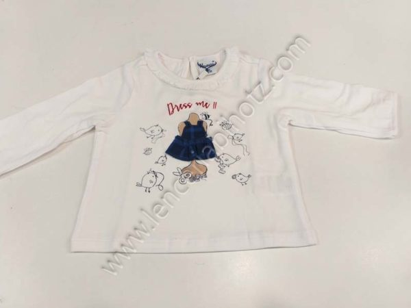 camiseta manga larga blanca para bebe con dibujo relieve