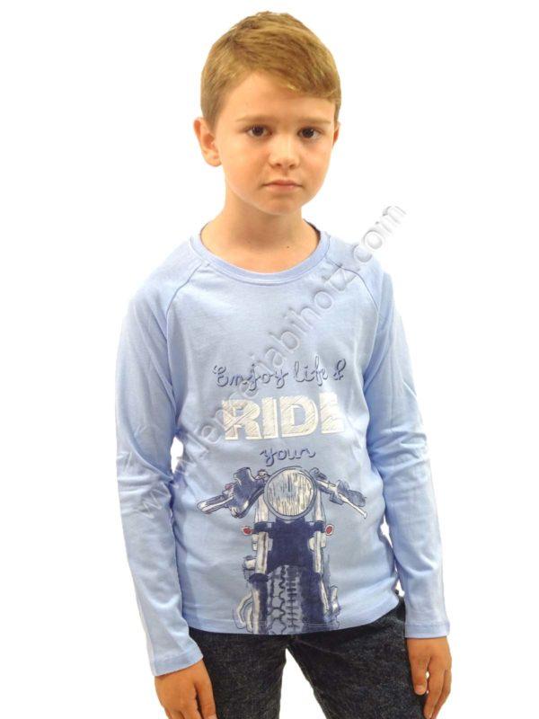 camiseta moto color celeste de manga larga para niño. Estampado de moto