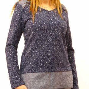 jersey punto azul mujer con algodon estampado motas y detalle en los hombros en el bajo