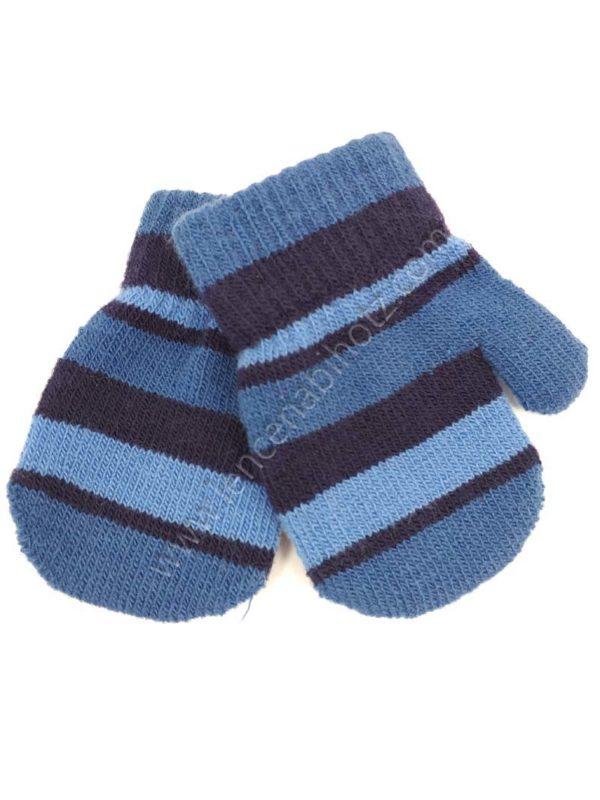 manopla bebe azul con rayas