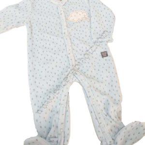 pijama para bebe de terciopelo en azul con estampado de lluvia. Azul, abertura delantera hasta los pies