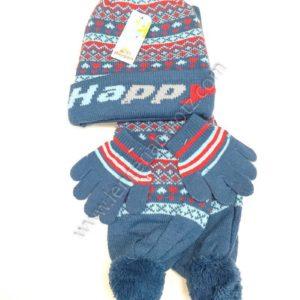 set de gorro, guantes y bufanda estampado en rojos, fondo azul