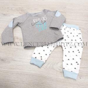 chandal bebe felpa en gris y blanco con toquel azules. Pantalon con puños. Felpa interior