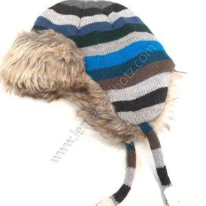 gorro rayas para bebe con interior de pelo y forro polar.
