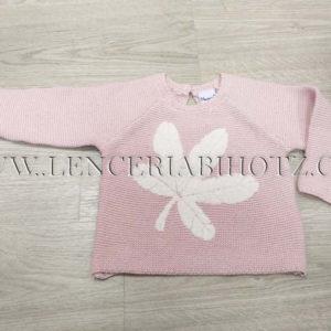 jersey de punto para niña en rosa con brillos plateados, y detalle suave en forma de flor. Abertura trasera