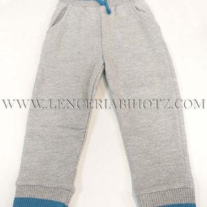 pantalon algodon bebe gris con detalles azules. Cordones y bolsillos