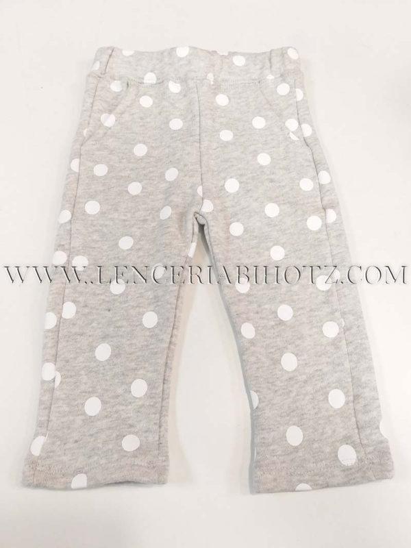 pantalon niña bebe gris de algodon con lunares blancos. bolsillos laterales