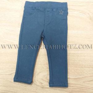 pantalon para bebe de loneta azulon con bolsillos traseros y detalle de brillantitos