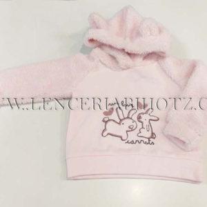 sudadera para bebe niña en rosa pastel. Mantas y gorro con borrego y orejitas.