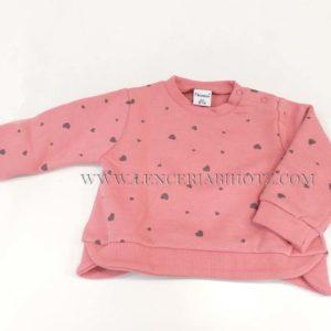 sudadera rosa maquillaje para bebe niña. Botones en el cuello, puños y cenefa. Estampado de corazones