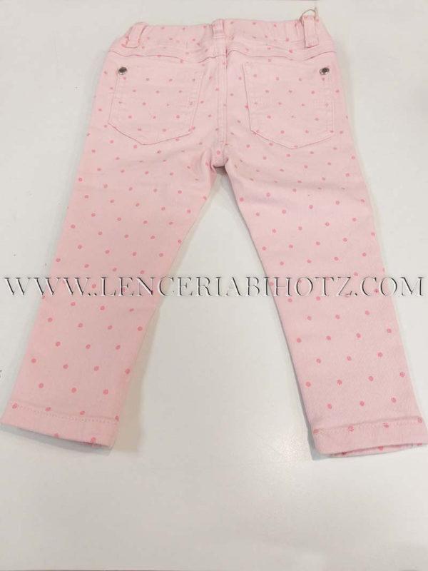 vaquero niña rosa con lunares. Bolsillos traseros y delanteros. Sin cremalleras ni bragueta