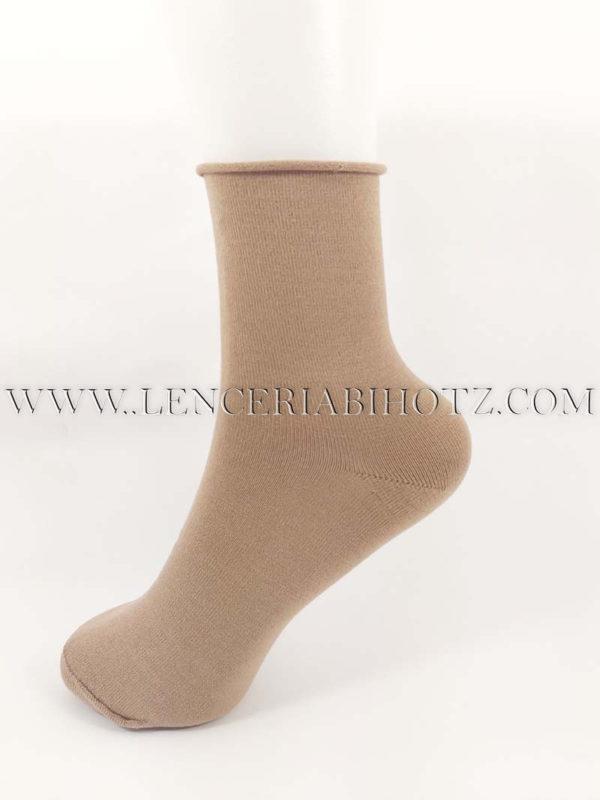 calcetin mujer sin goma algodon remate de rulo color camel