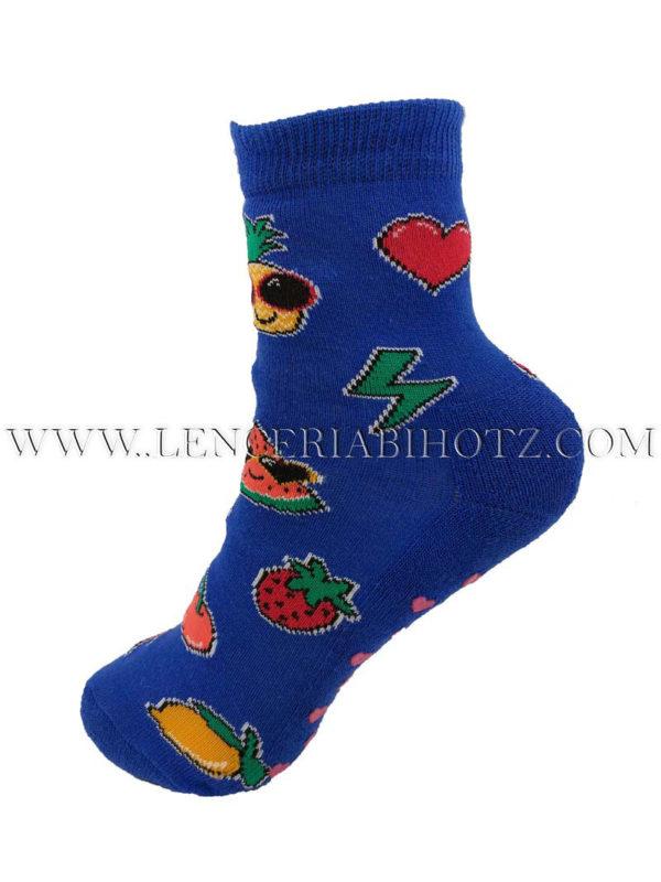 calcetin niño antideslizante con dibujos de frutas. Color azul oscuro