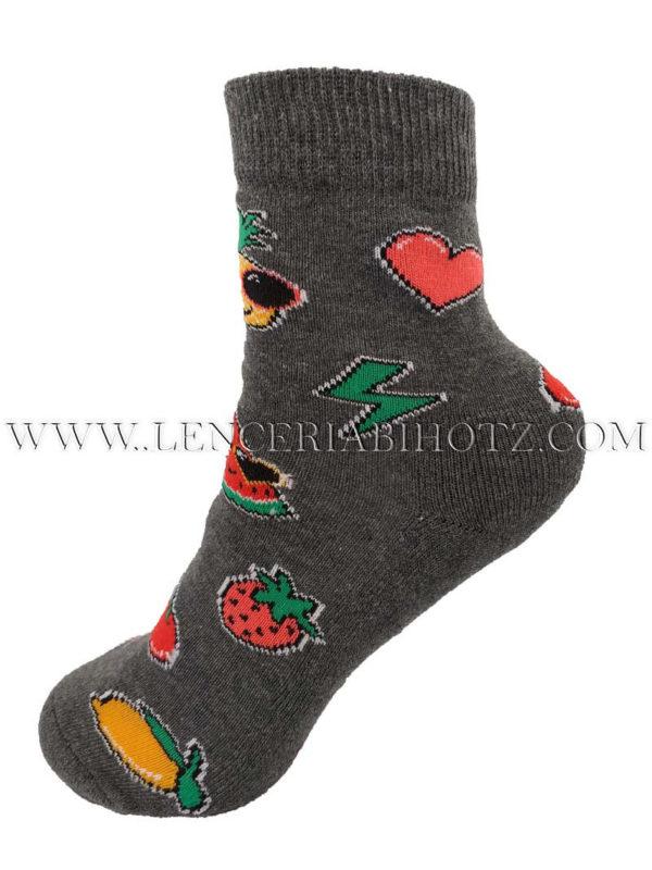 calcetin niño antideslizante con dibujos de frutas. Color gris marengo