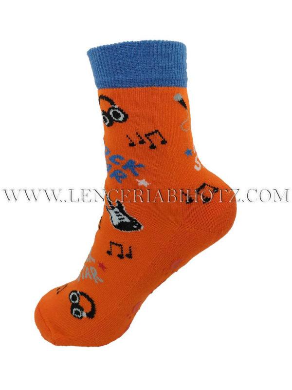 calcetin niño antideslizante con dibujos de guitarras y notas musicales. Color naranja y puño azulón