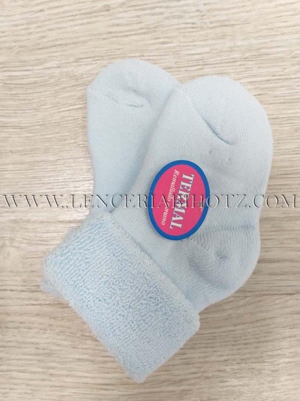 calcetin bebe azul con rizo interior puño reversible