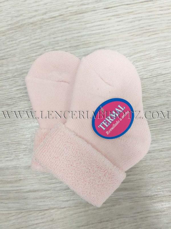 calcetin bebe rosa con rizo interior puño reversible