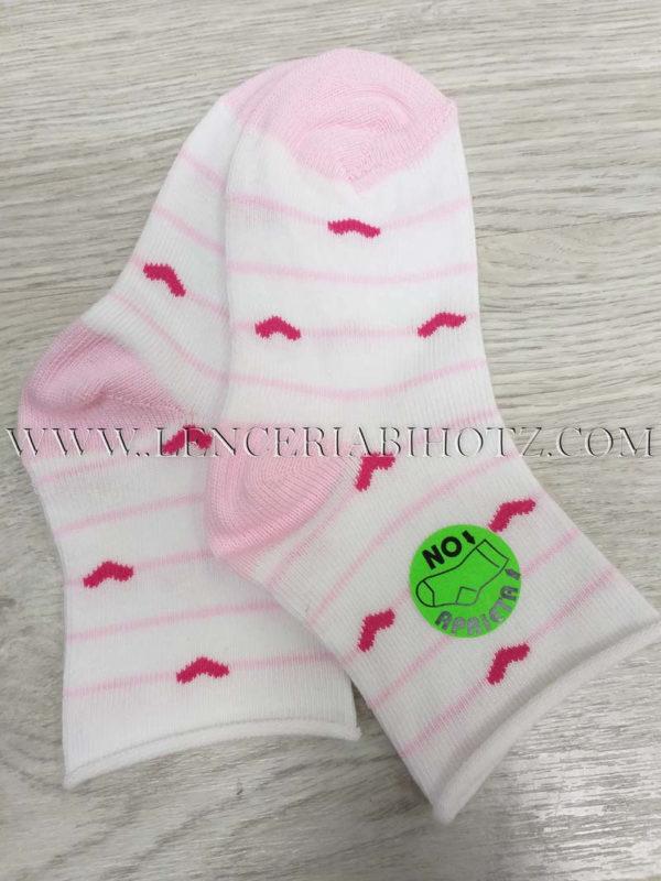 calcetin bebe niña sin puño algodon rosita con corazones
