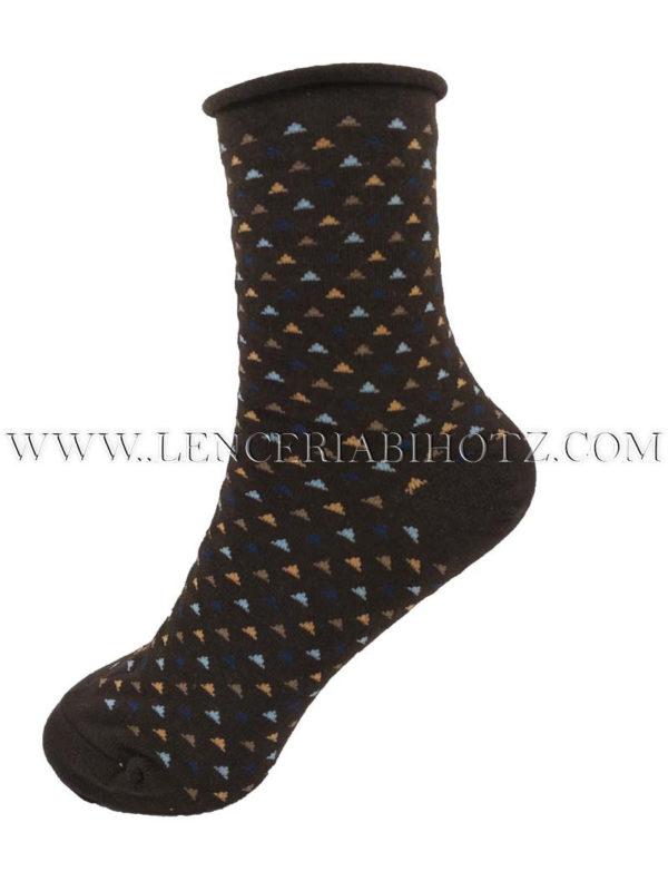 calcetin para mujer marron con fantasia geometrica. Puño de rulo sin goma