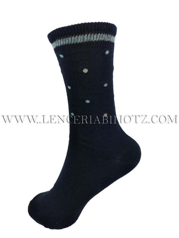 calcetin algodon caña alta para niño.Azul marino con motas azules