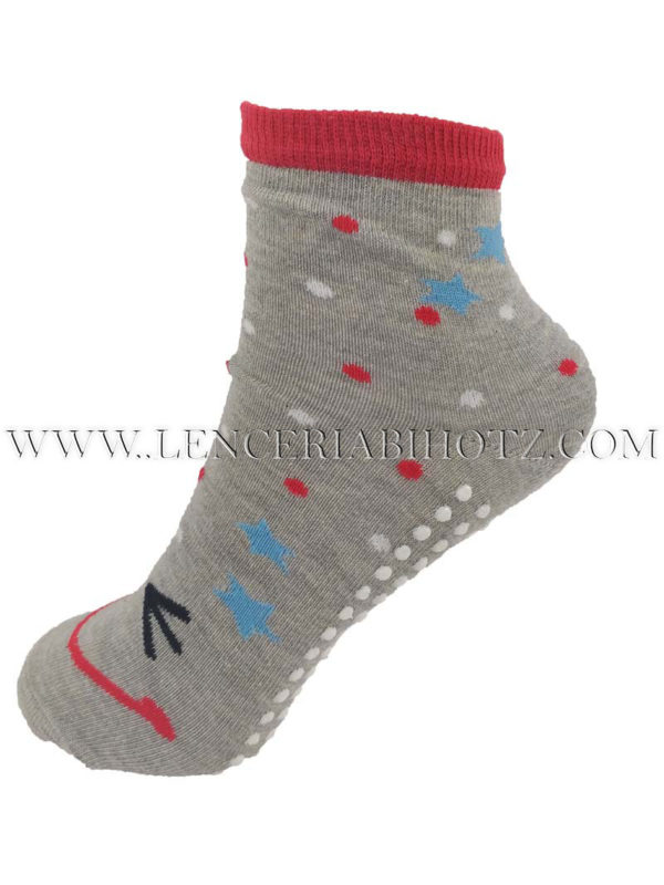 calcetin infantil suela antideslizante gris con detalles en rojo