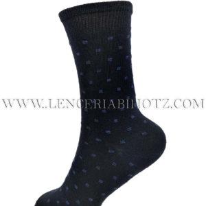 calcetin niño algodon alto marino con detalles en forma de ondas en azul