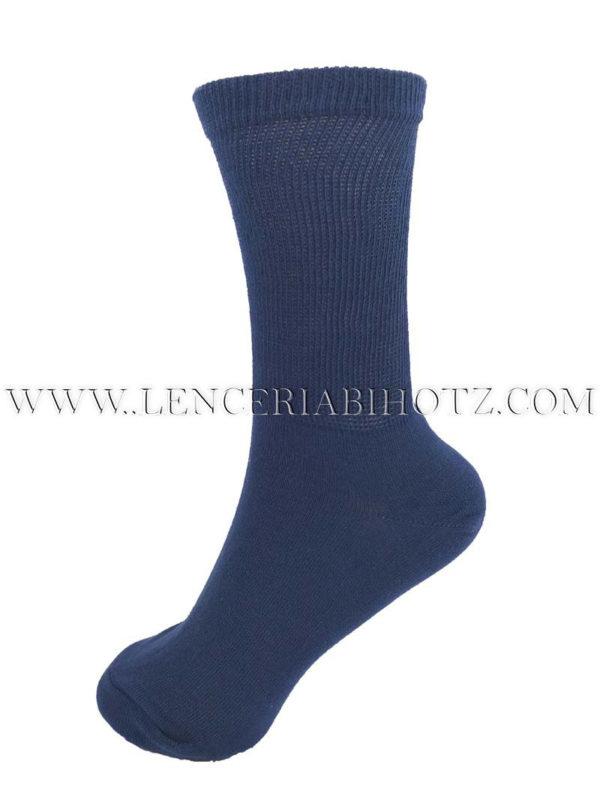 calcetin suave y blando de algodon para mujer con caña extra ancha azul