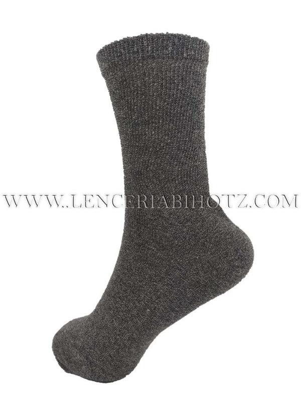 calcetin suave y blando de algodon para mujer con caña extra ancha gris