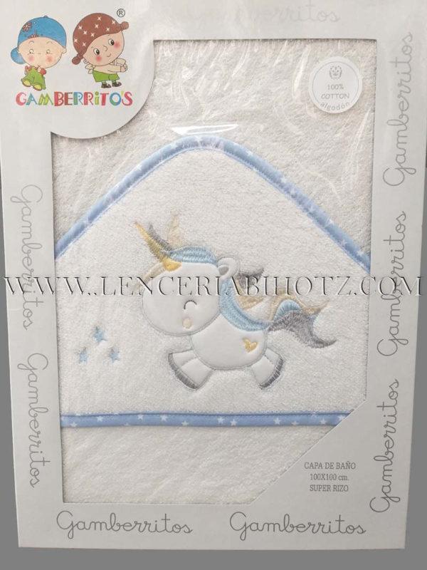 capa baño bebe unicornio azul, sobre fondo blanco.