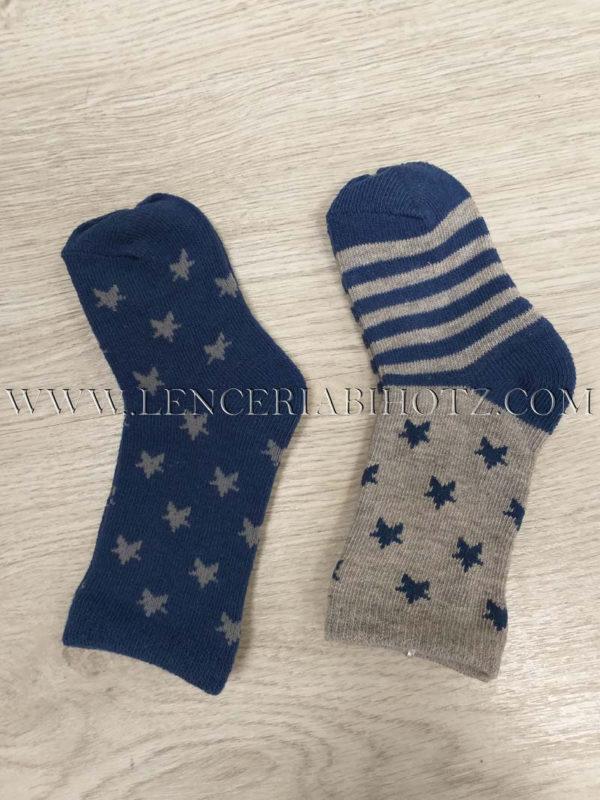 calcetin pack 2 unidades bebe. Azul con estrellas y gris con rayas y caña en estrellas