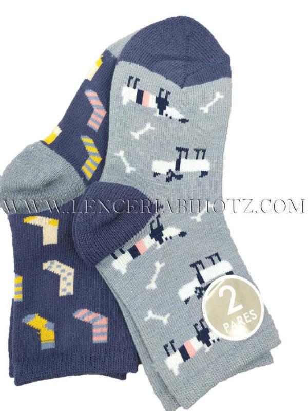 calcetin infantil pack de dos en tonos azules estampados