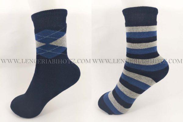 pack de calcetines de niño gruesos con rizo en tonos negros. Uno con rombo y otro de rayas