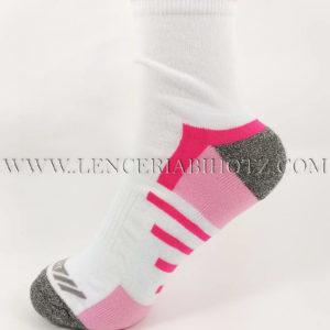 Calcetin deportivo tobillero alto blanco con detalles en gris y rosa
