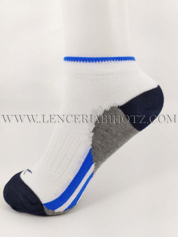 calcetin tobillero invisible niño blanco con suela en gris y detalles en azul