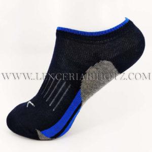 calcetin tobillero invisible niño negro con suela en gris y detalles en azul
