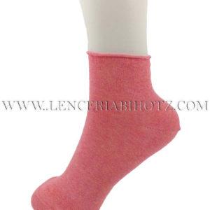 tobillero mujer con remate de puño, sin goma. Color coral