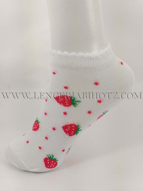tobillero invisible de niña con estampado de motas y fresas. Color blanco