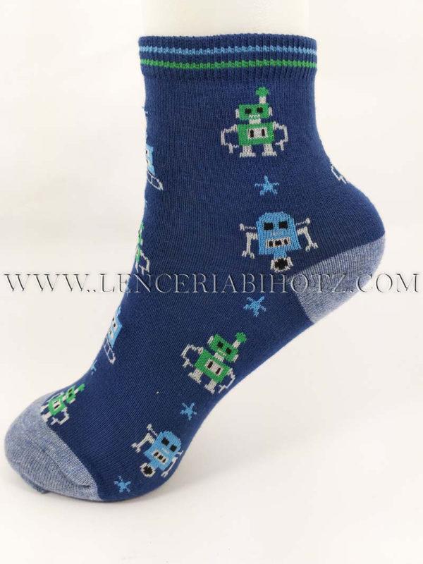 calcetin tobillero niño azul marino con la puntera y el talon color azul jeans. Estampado de robots