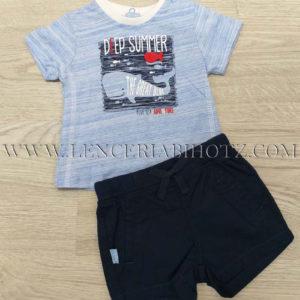 conjunto para bebe de camiseta con bermuda de tela. Camiseta azul dibujo de ballerna