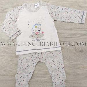 conjunto bebe de polaina y camiseta con abertura trasera de corchetes, en blanco y gris